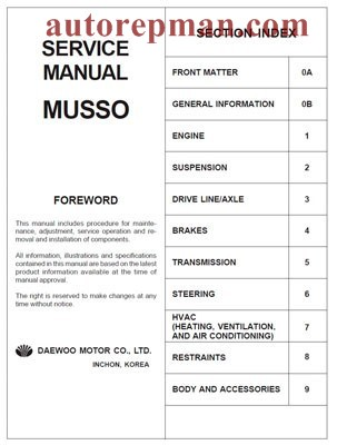 Repair manual car Ssangyong Musso Musso Sport